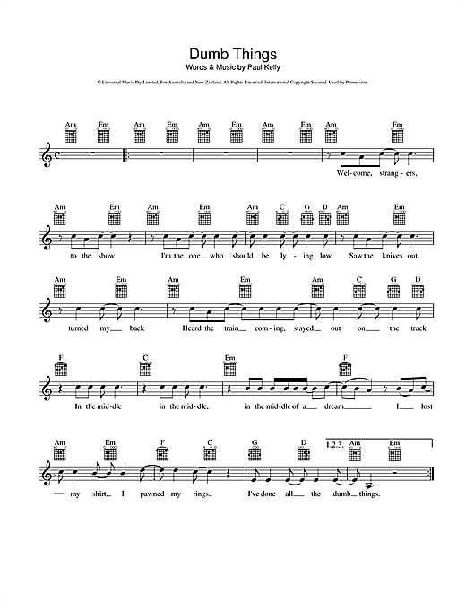 Paul Kelly Dumb Things sheet music preview music notes and score for Melody Line, Lyrics & Chords including 2 page(s)