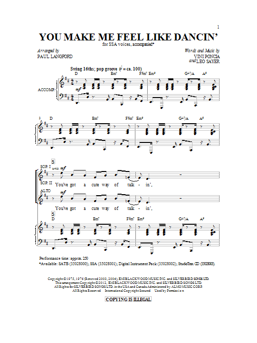Paul Langford You Make Me Feel Like Dancing sheet music preview music notes and score for SATB including 11 page(s)