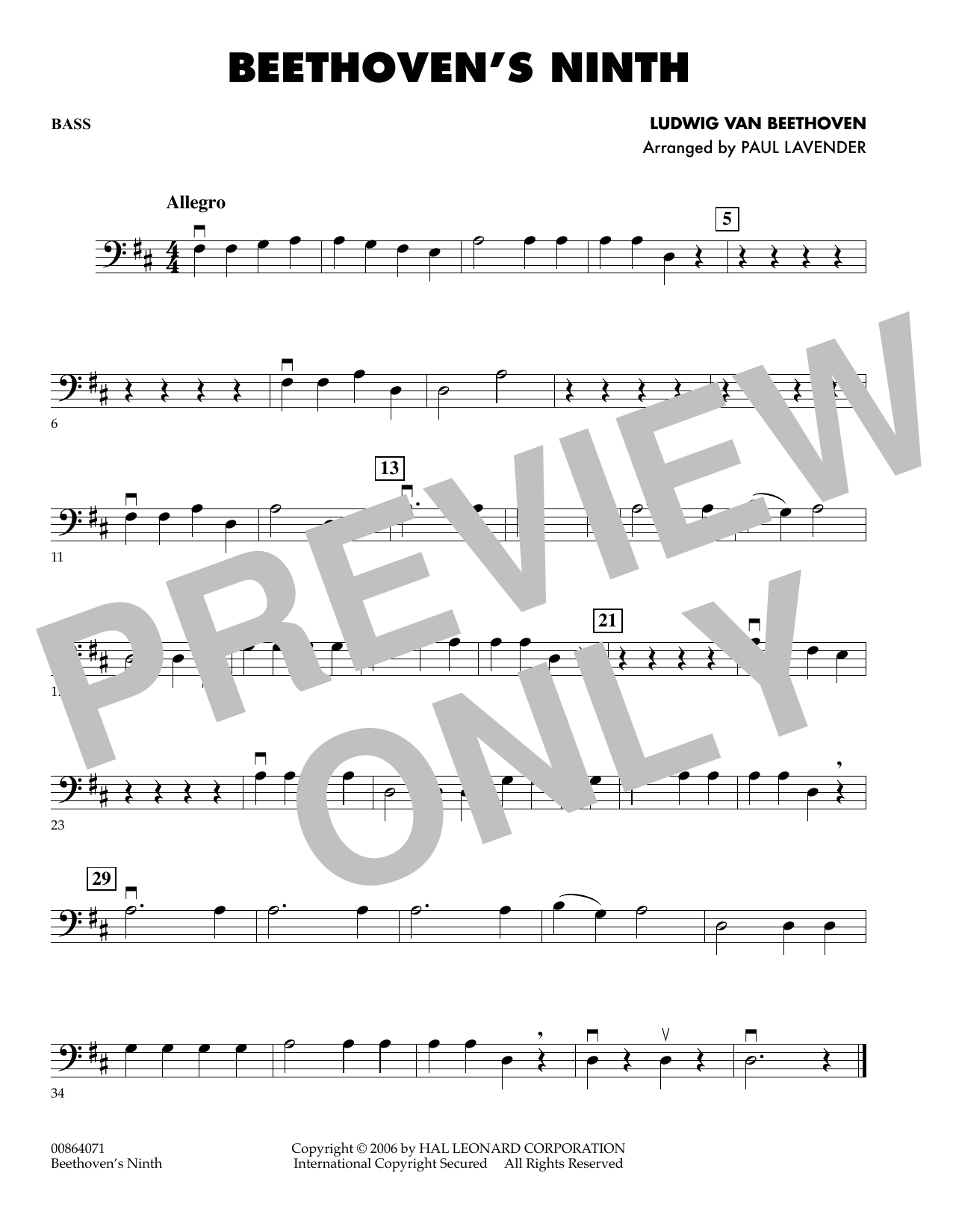 Paul Lavender Beethoven's Ninth - String Bass sheet music preview music notes and score for Orchestra including 1 page(s)