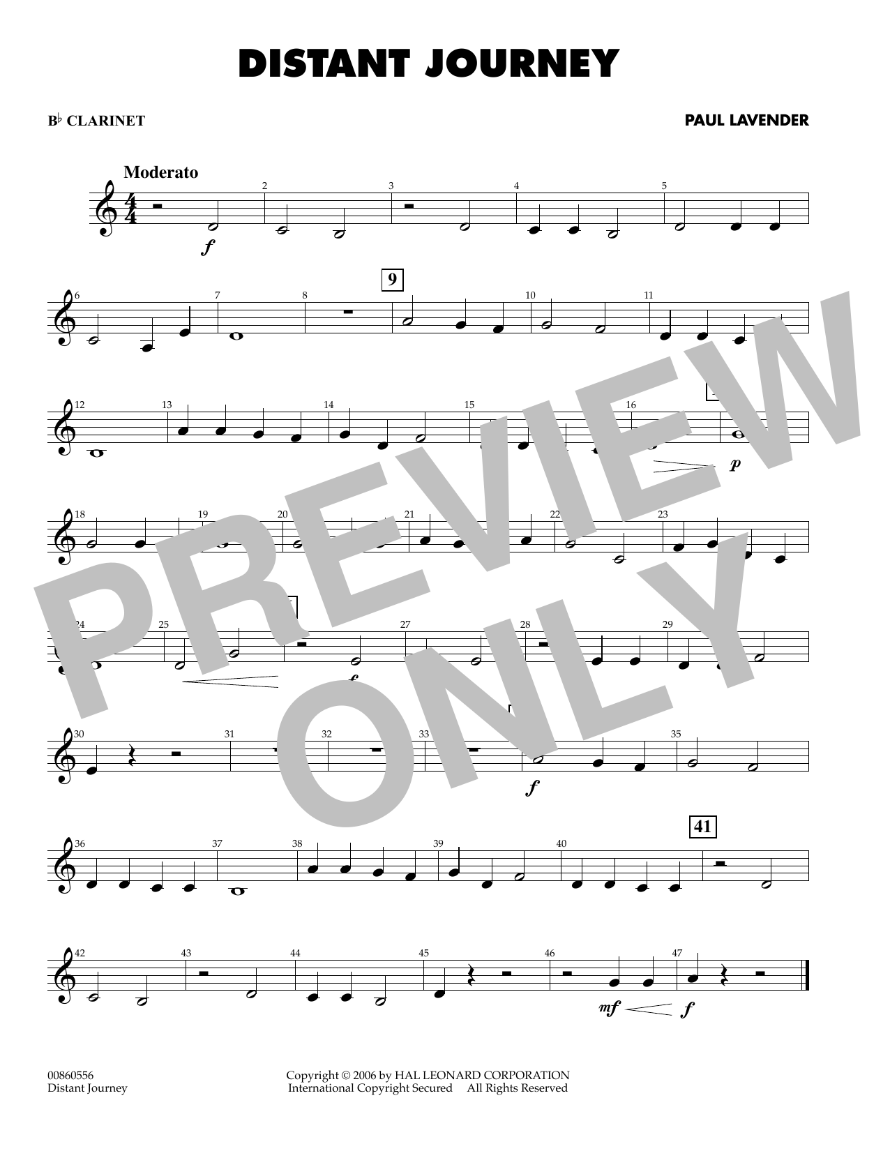 Paul Lavender Distant Journey - Bb Clarinet sheet music preview music notes and score for Concert Band including 1 page(s)
