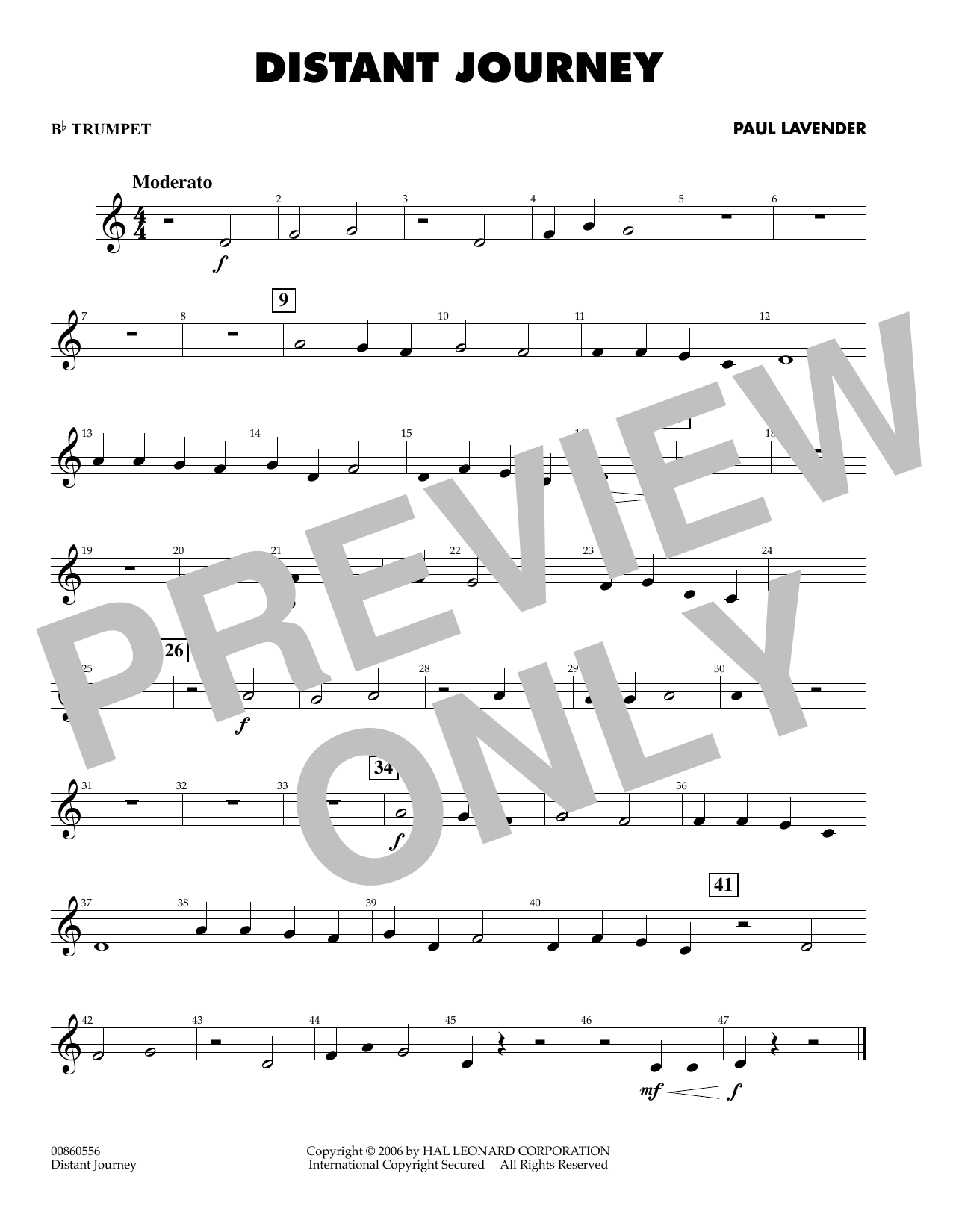 Paul Lavender Distant Journey - Bb Trumpet sheet music preview music notes and score for Concert Band including 1 page(s)