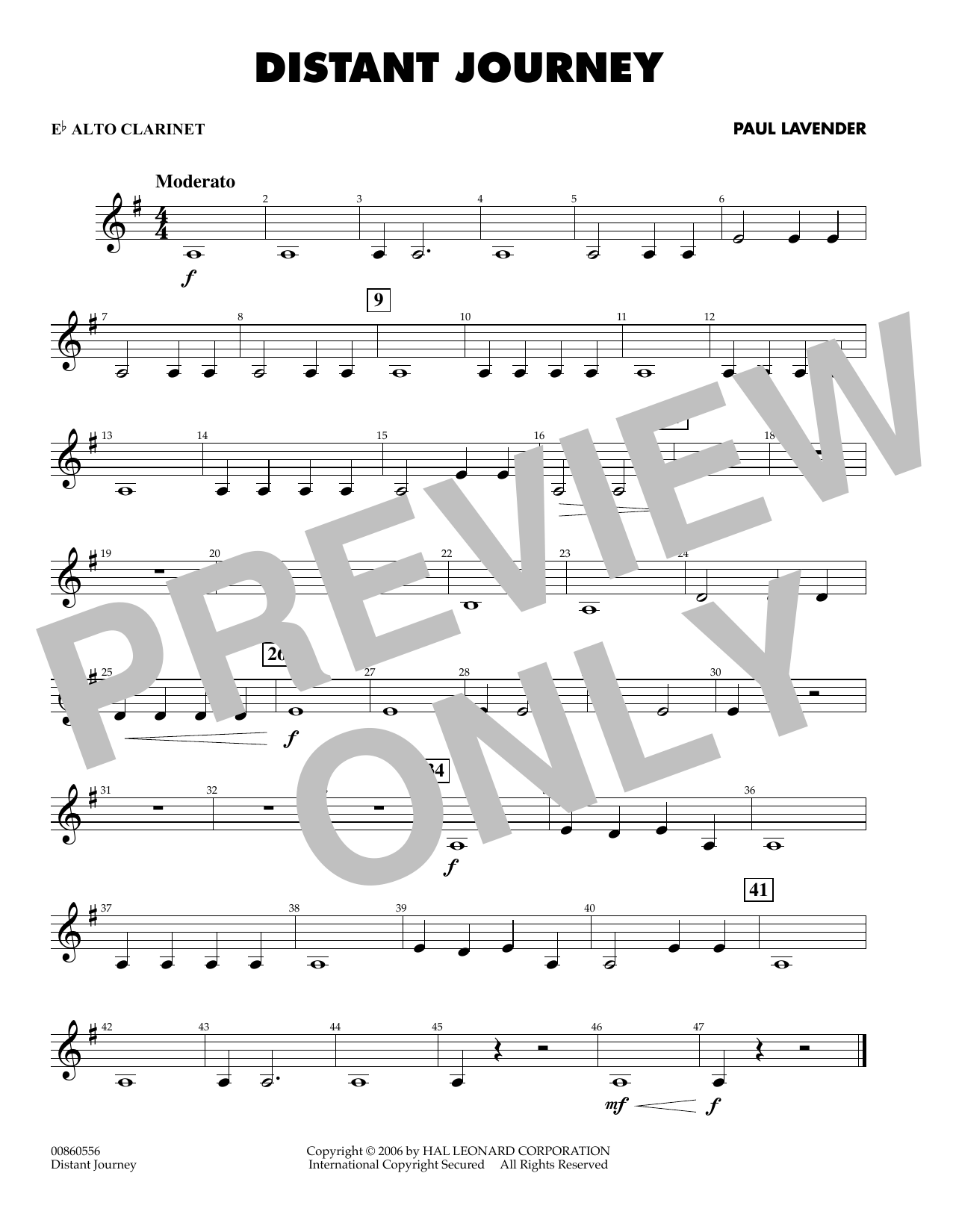 Paul Lavender Distant Journey - Eb Alto Clarinet sheet music preview music notes and score for Concert Band including 1 page(s)