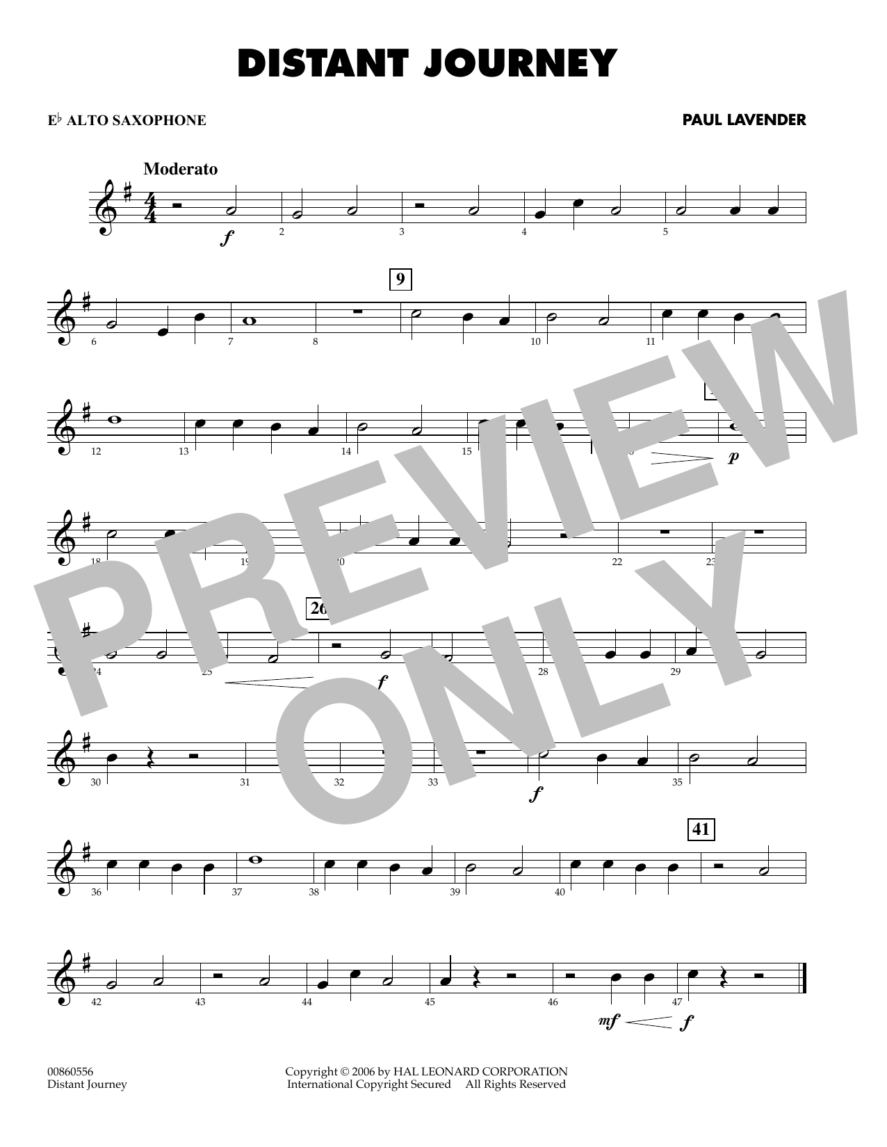 Paul Lavender Distant Journey - Eb Alto Saxophone sheet music preview music notes and score for Concert Band including 1 page(s)