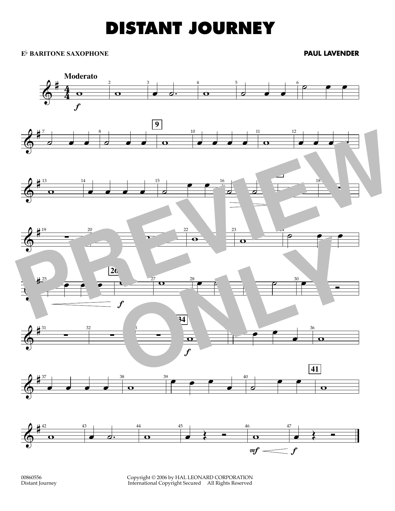 Paul Lavender Distant Journey - Eb Baritone Saxophone sheet music preview music notes and score for Concert Band including 1 page(s)