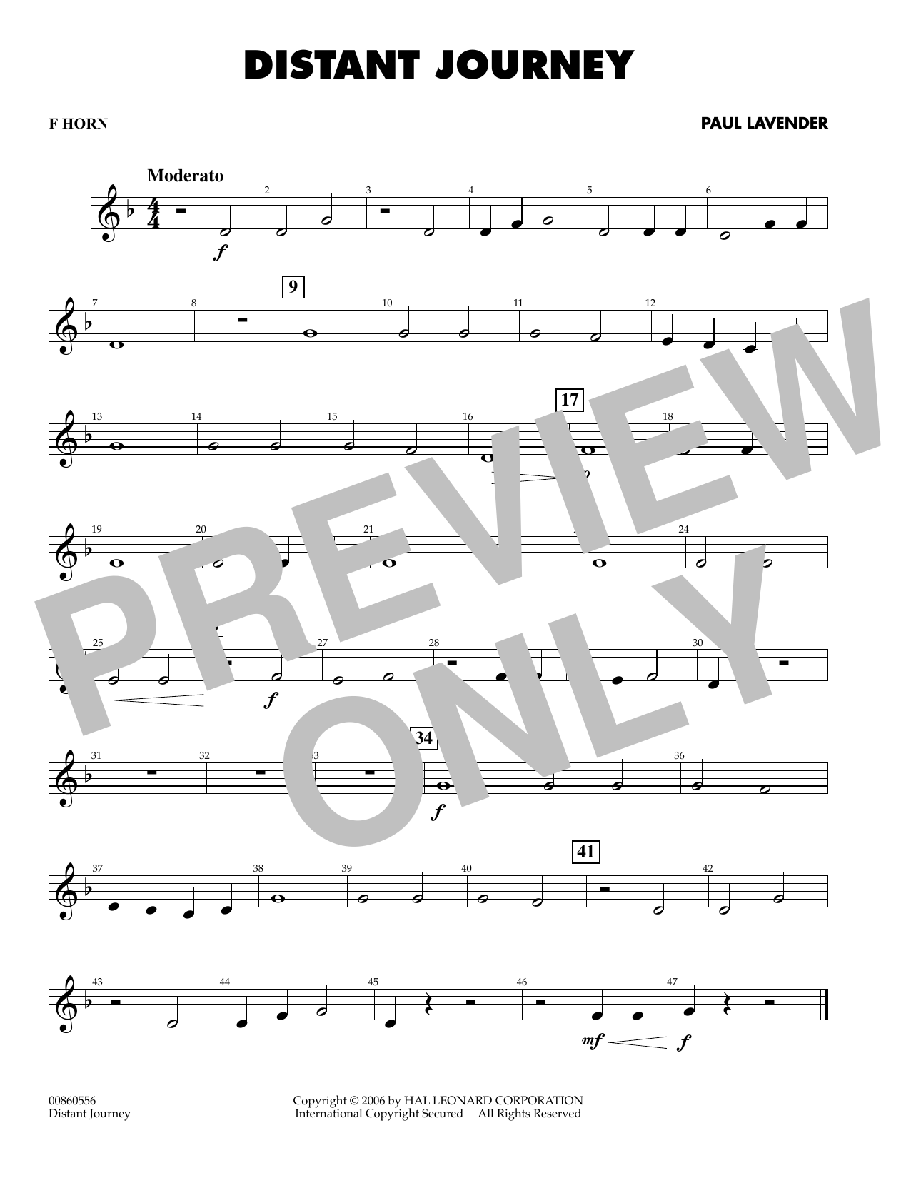Paul Lavender Distant Journey - F Horn sheet music preview music notes and score for Concert Band including 1 page(s)
