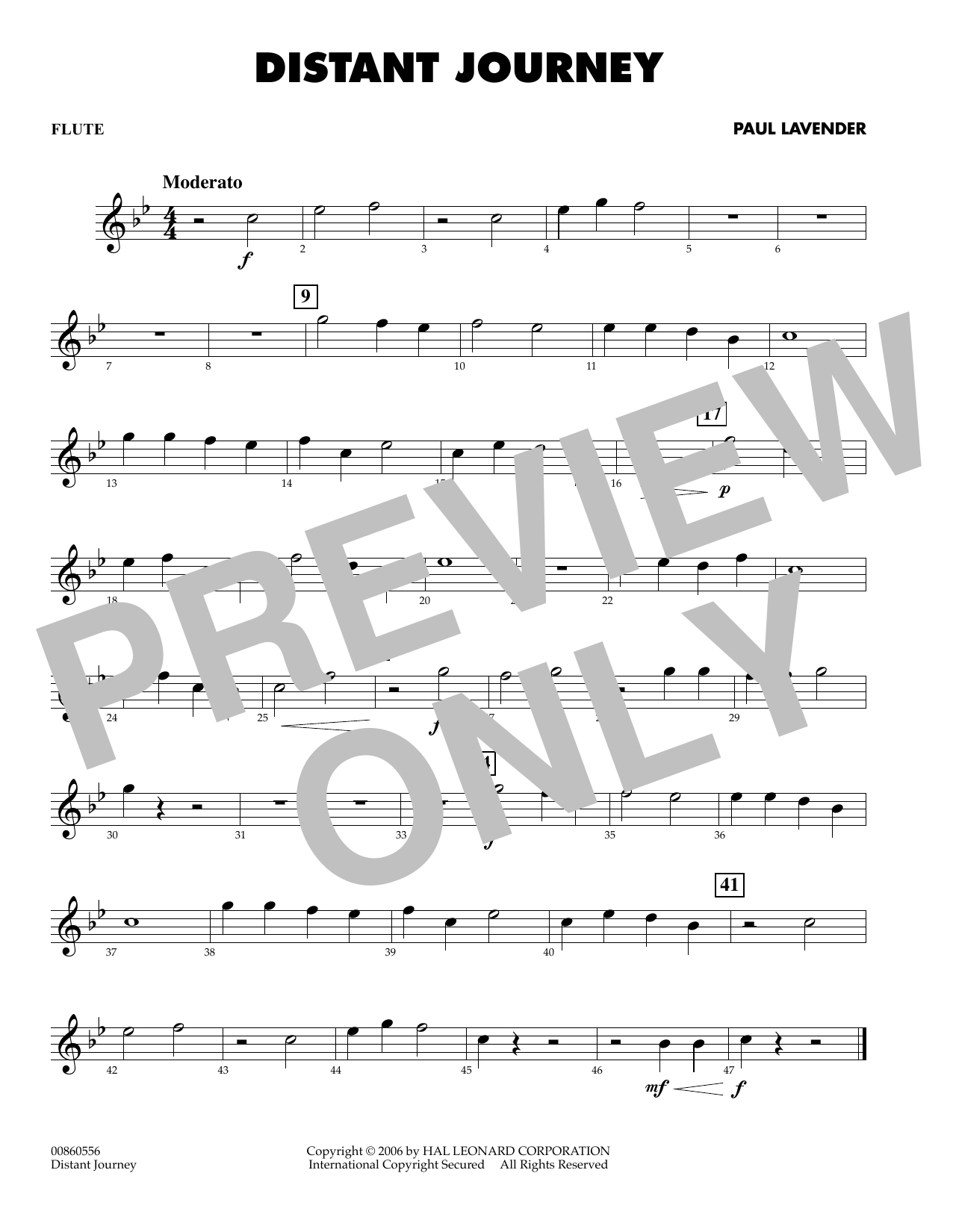 Paul Lavender Distant Journey - Flute sheet music preview music notes and score for Concert Band including 1 page(s)