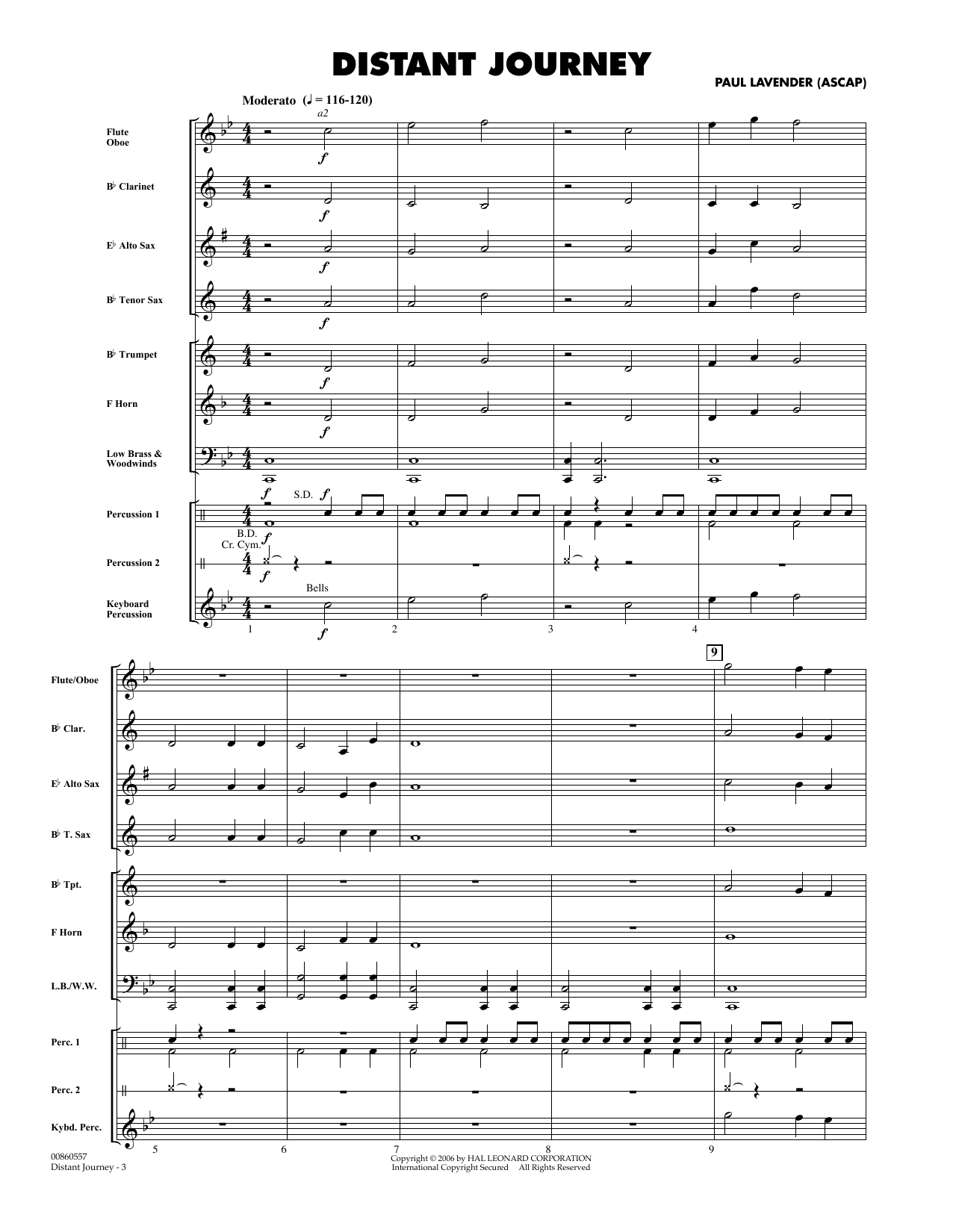 Paul Lavender Distant Journey - Full Score sheet music preview music notes and score for Concert Band including 5 page(s)
