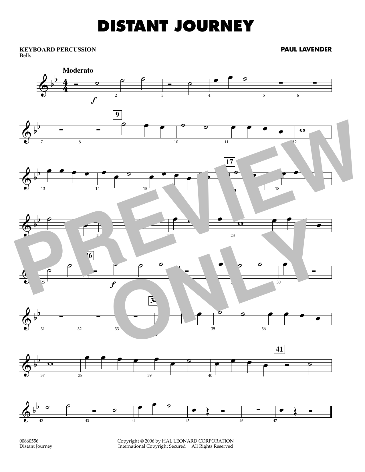 Paul Lavender Distant Journey - Keyboard Percussion sheet music preview music notes and score for Concert Band including 1 page(s)