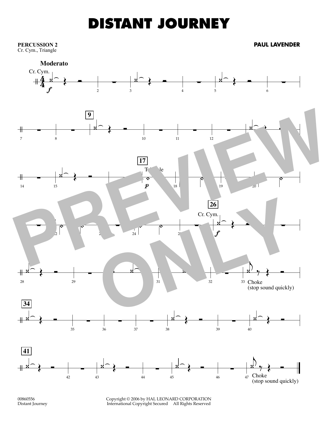 Paul Lavender Distant Journey - Percussion 2 sheet music preview music notes and score for Concert Band including 1 page(s)