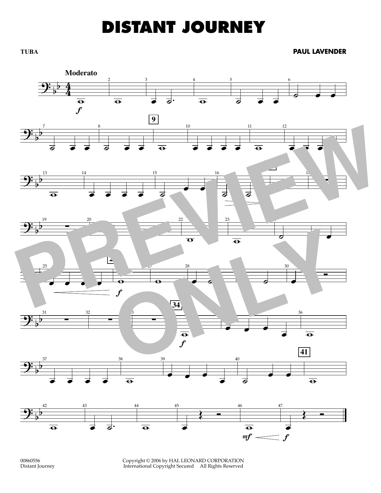Paul Lavender Distant Journey - Tuba sheet music preview music notes and score for Concert Band including 1 page(s)
