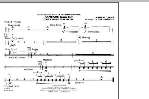 Download Paul Lavender 'Fanfare from E.T. (The Extra-Terrestrial) - Triple Toms' Digital Sheet Music Notes & Chords and start playing in minutes