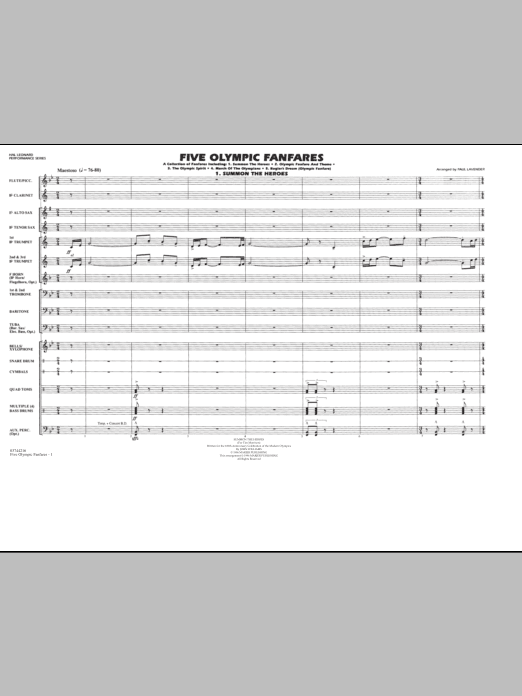 Download Paul Lavender 'Five Olympic Fanfares - Full Score' Digital Sheet Music Notes & Chords and start playing in minutes