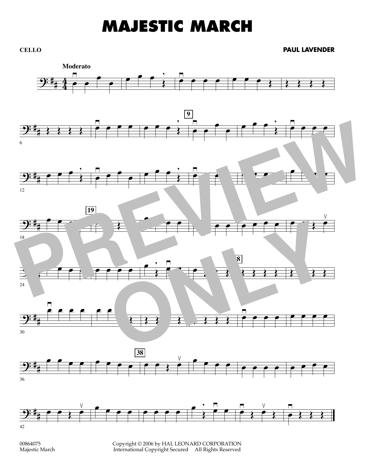 Paul Lavender Majestic March - Cello sheet music preview music notes and score for Orchestra including 1 page(s)