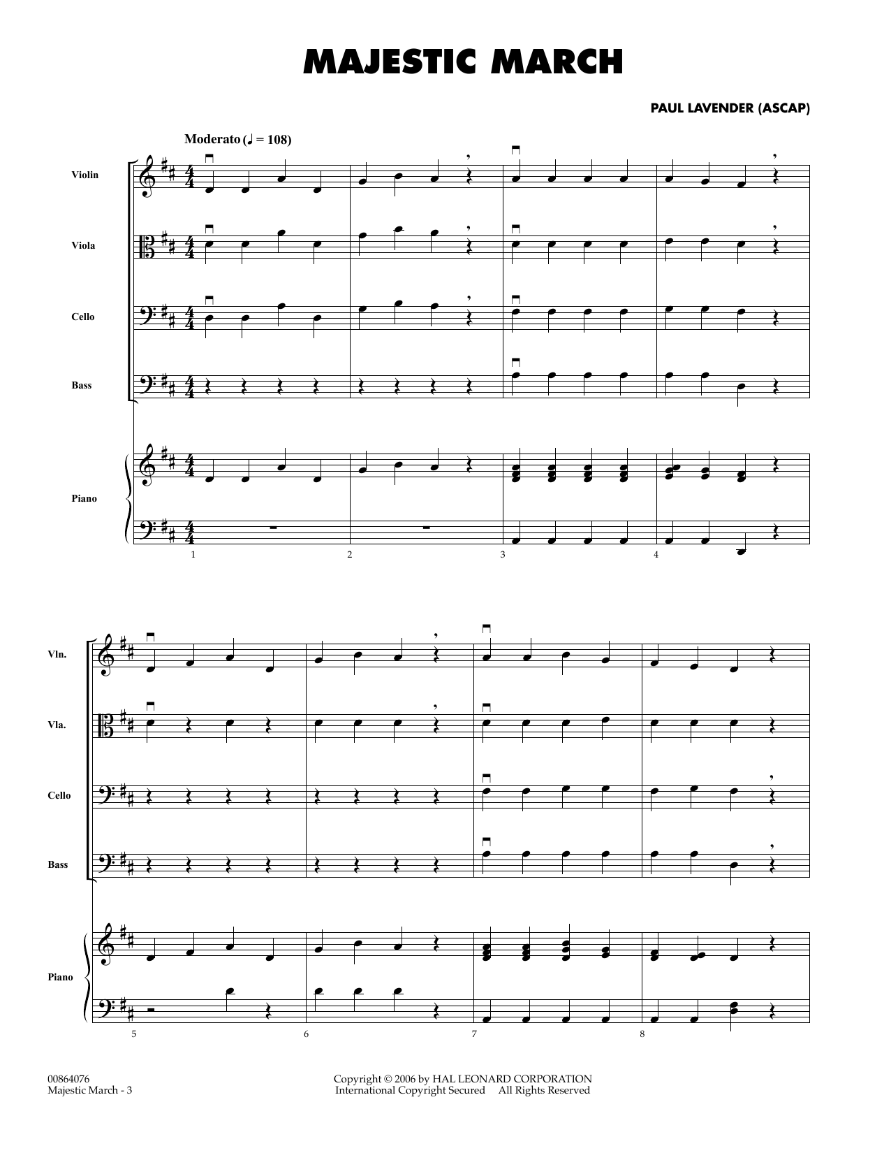 Paul Lavender Majestic March - Full Score sheet music preview music notes and score for Orchestra including 5 page(s)