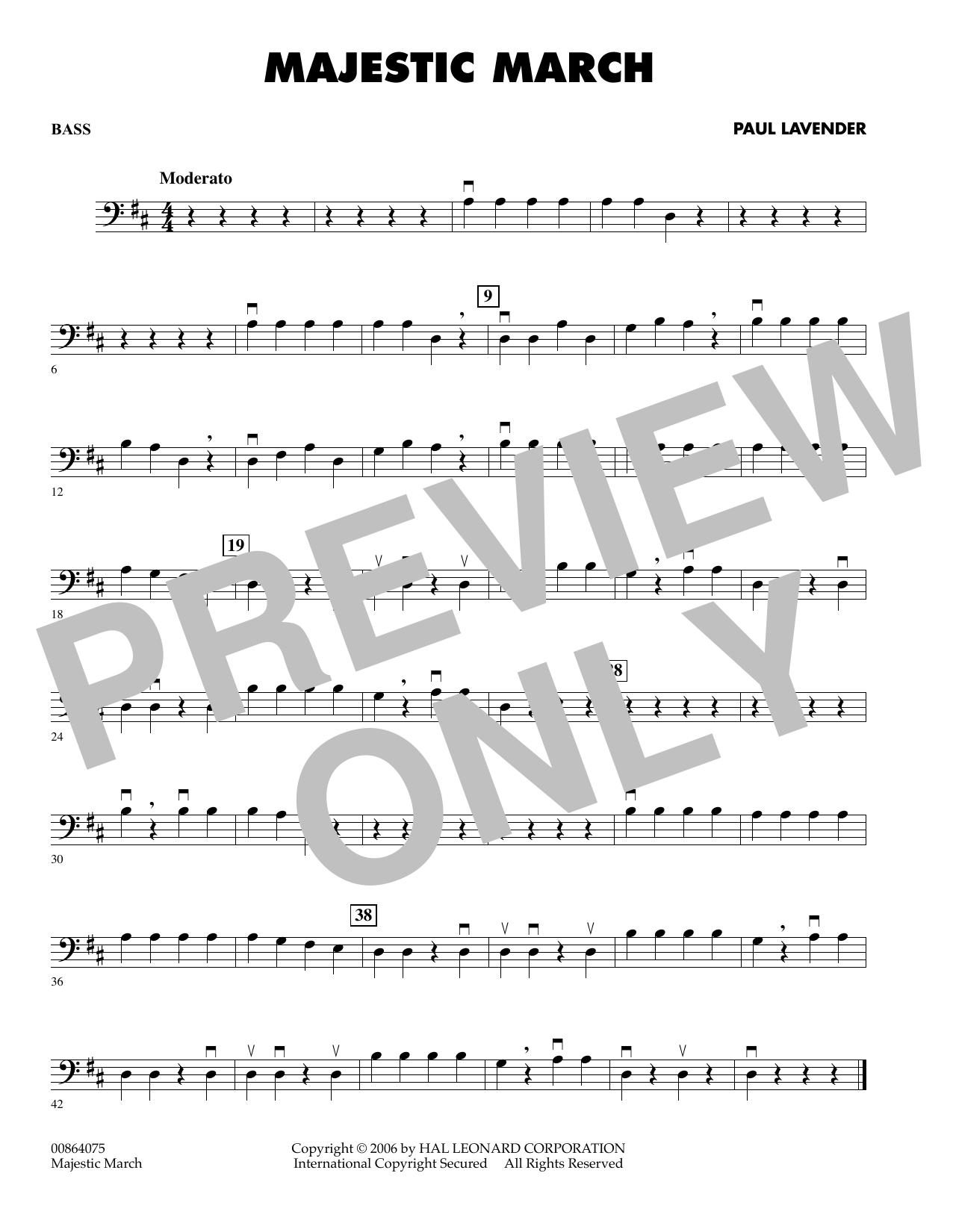 Paul Lavender Majestic March - String Bass sheet music preview music notes and score for Orchestra including 1 page(s)