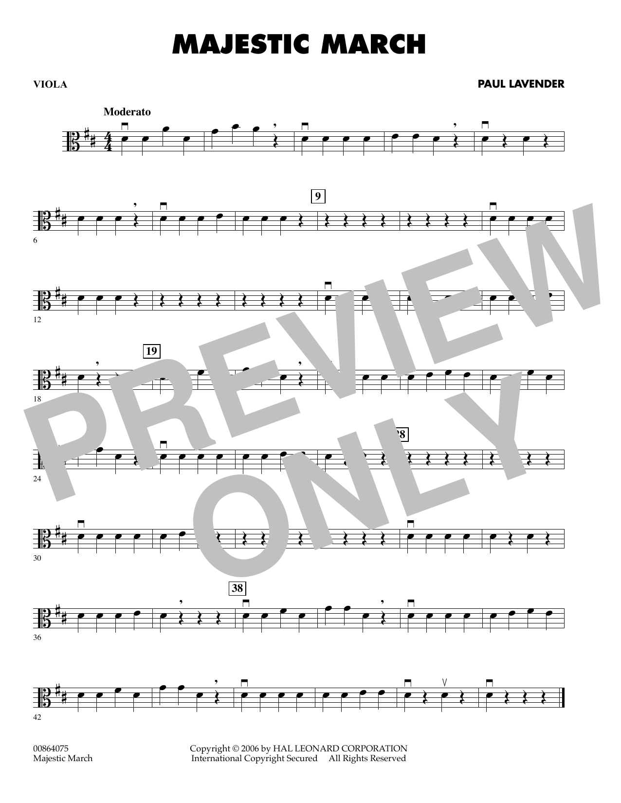 Paul Lavender Majestic March - Viola sheet music preview music notes and score for Orchestra including 1 page(s)