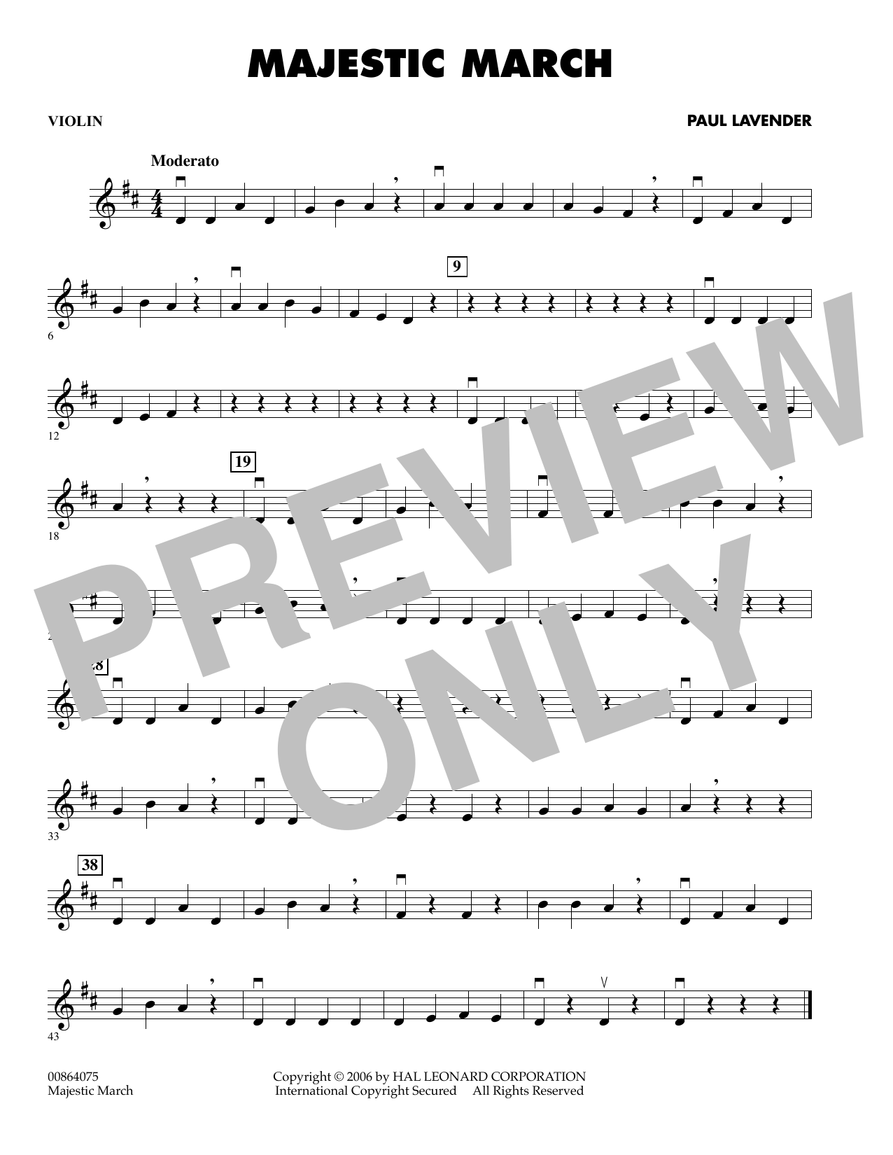 Paul Lavender Majestic March - Violin sheet music preview music notes and score for Orchestra including 1 page(s)
