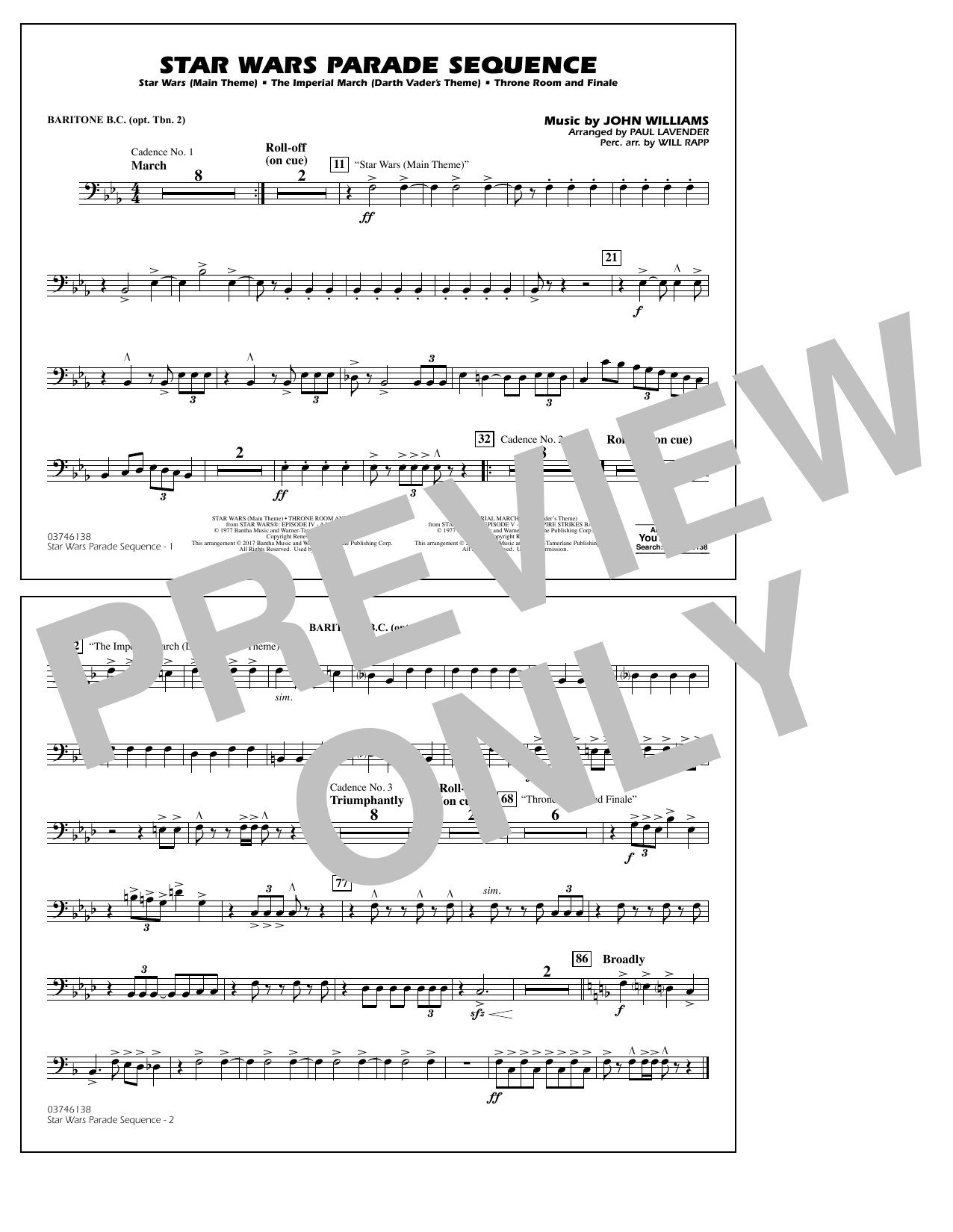 Paul Lavender Star Wars Parade Sequence - Baritone B.C. (Opt. Tbn. 2) sheet music preview music notes and score for Marching Band including 1 page(s)