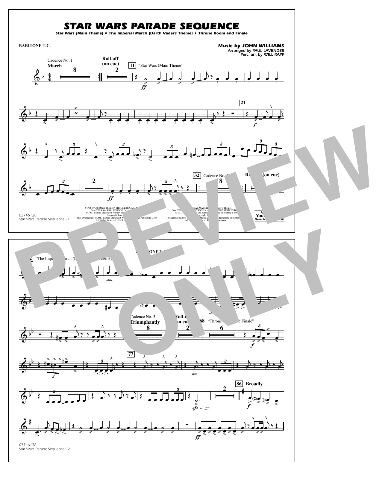 Paul Lavender Star Wars Parade Sequence - Baritone T.C. sheet music preview music notes and score for Marching Band including 1 page(s)
