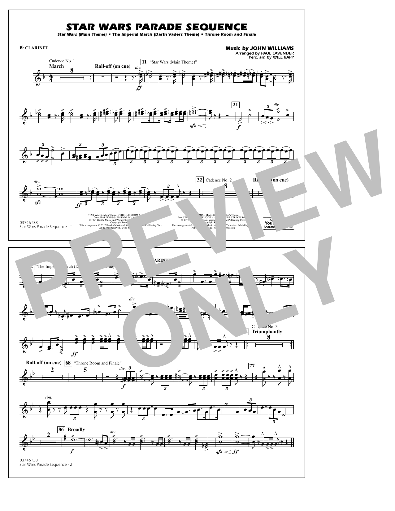 Paul Lavender Star Wars Parade Sequence - Bb Clarinet sheet music preview music notes and score for Marching Band including 1 page(s)