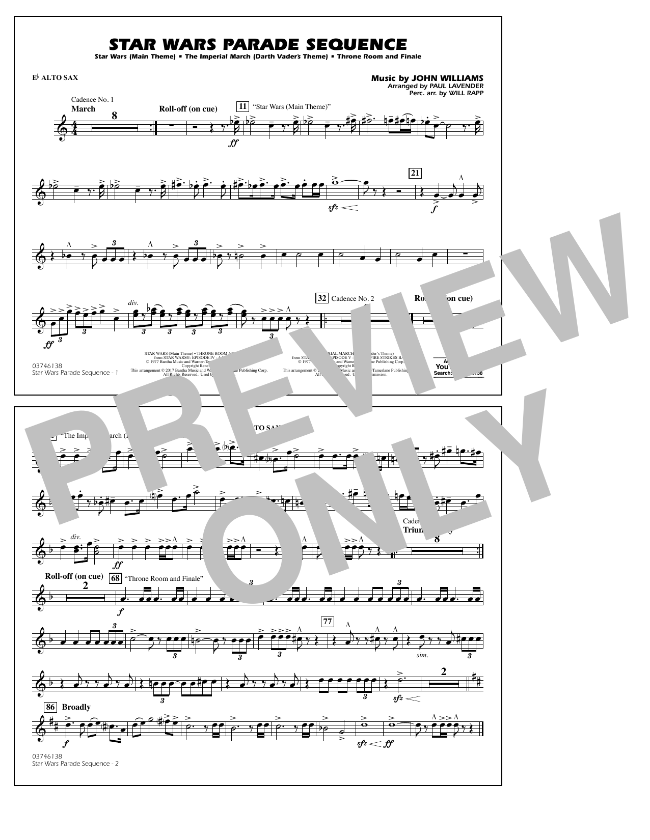 Paul Lavender Star Wars Parade Sequence - Eb Alto Sax sheet music preview music notes and score for Marching Band including 1 page(s)