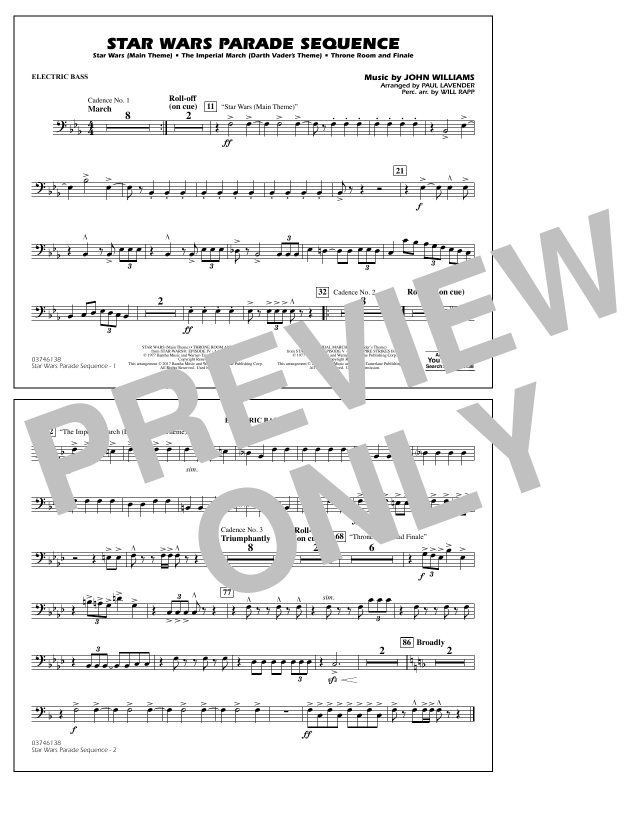 Paul Lavender Star Wars Parade Sequence - Electric Bass sheet music preview music notes and score for Marching Band including 1 page(s)