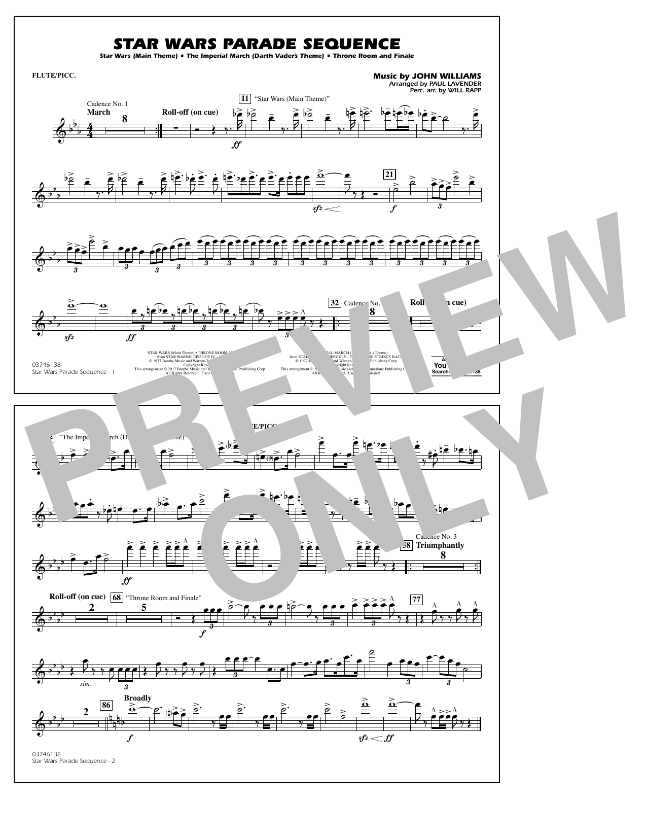 Paul Lavender Star Wars Parade Sequence - Flute/Piccolo sheet music preview music notes and score for Marching Band including 1 page(s)