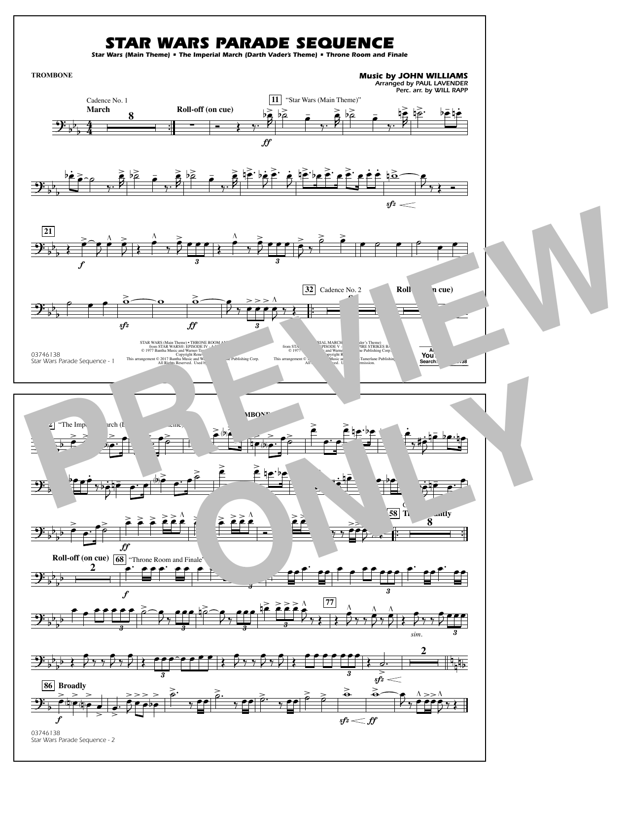 Paul Lavender Star Wars Parade Sequence - Trombone sheet music preview music notes and score for Marching Band including 1 page(s)