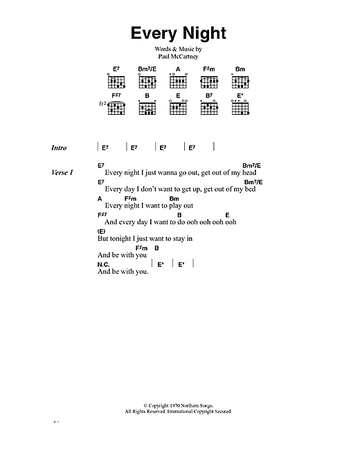 Paul McCartney Every Night sheet music notes and chords
