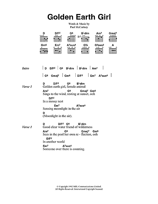 Paul McCartney Golden Earth Girl sheet music notes and chords