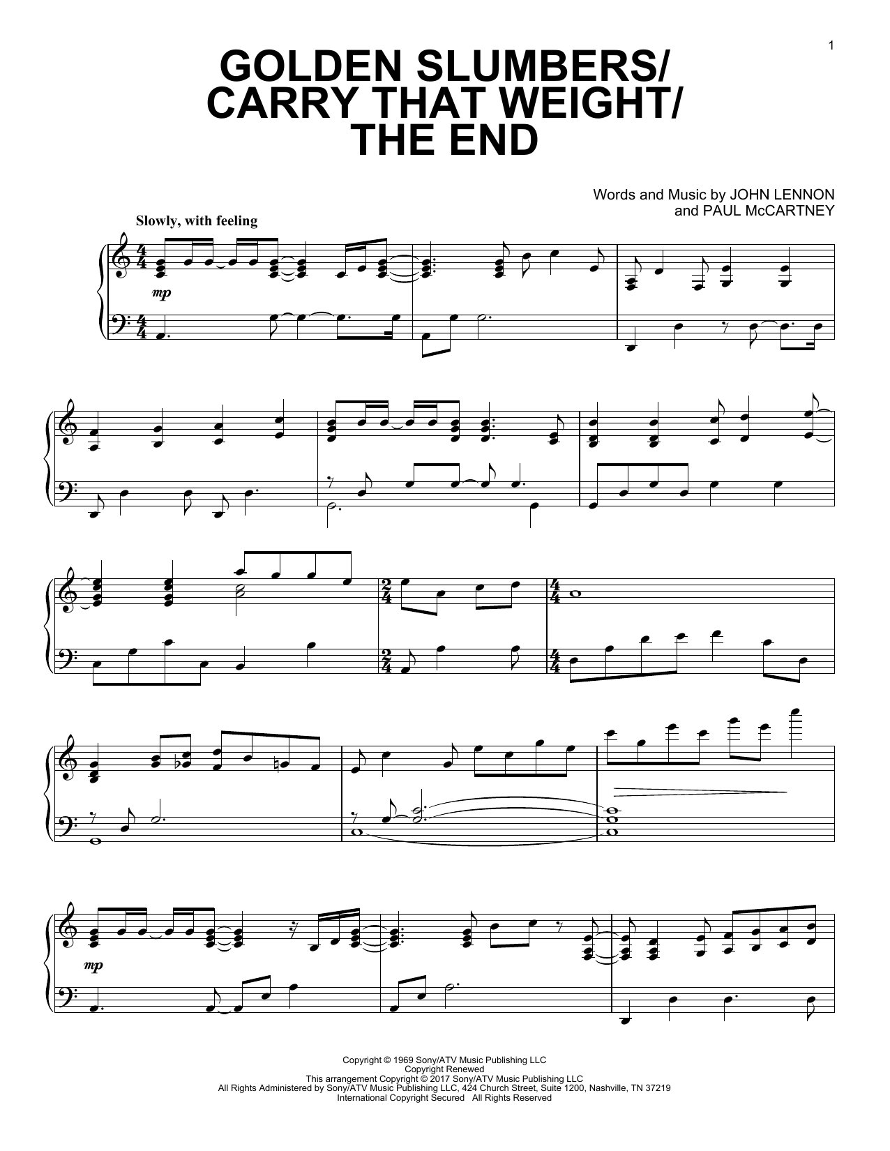 Download Paul McCartney 'Golden Slumbers/Carry That Weight/The End' Digital Sheet Music Notes & Chords and start playing in minutes