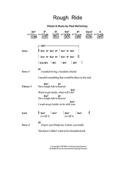 Paul McCartney Rough Ride sheet music notes and chords