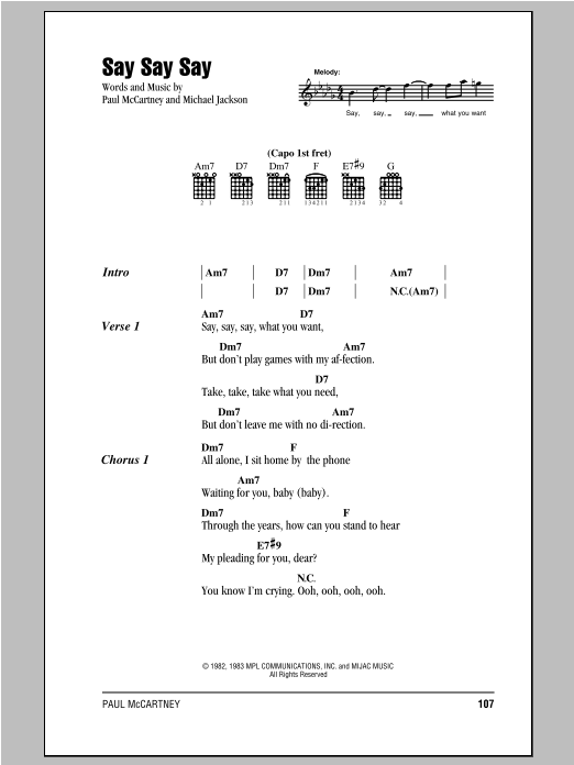 Paul McCartney Say Say Say sheet music preview music notes and score for Lyrics & Chords including 3 page(s)