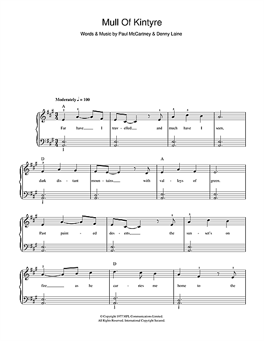 Paul McCartney & Wings Mull Of Kintyre sheet music preview music notes and score for Beginner Piano including 2 page(s)