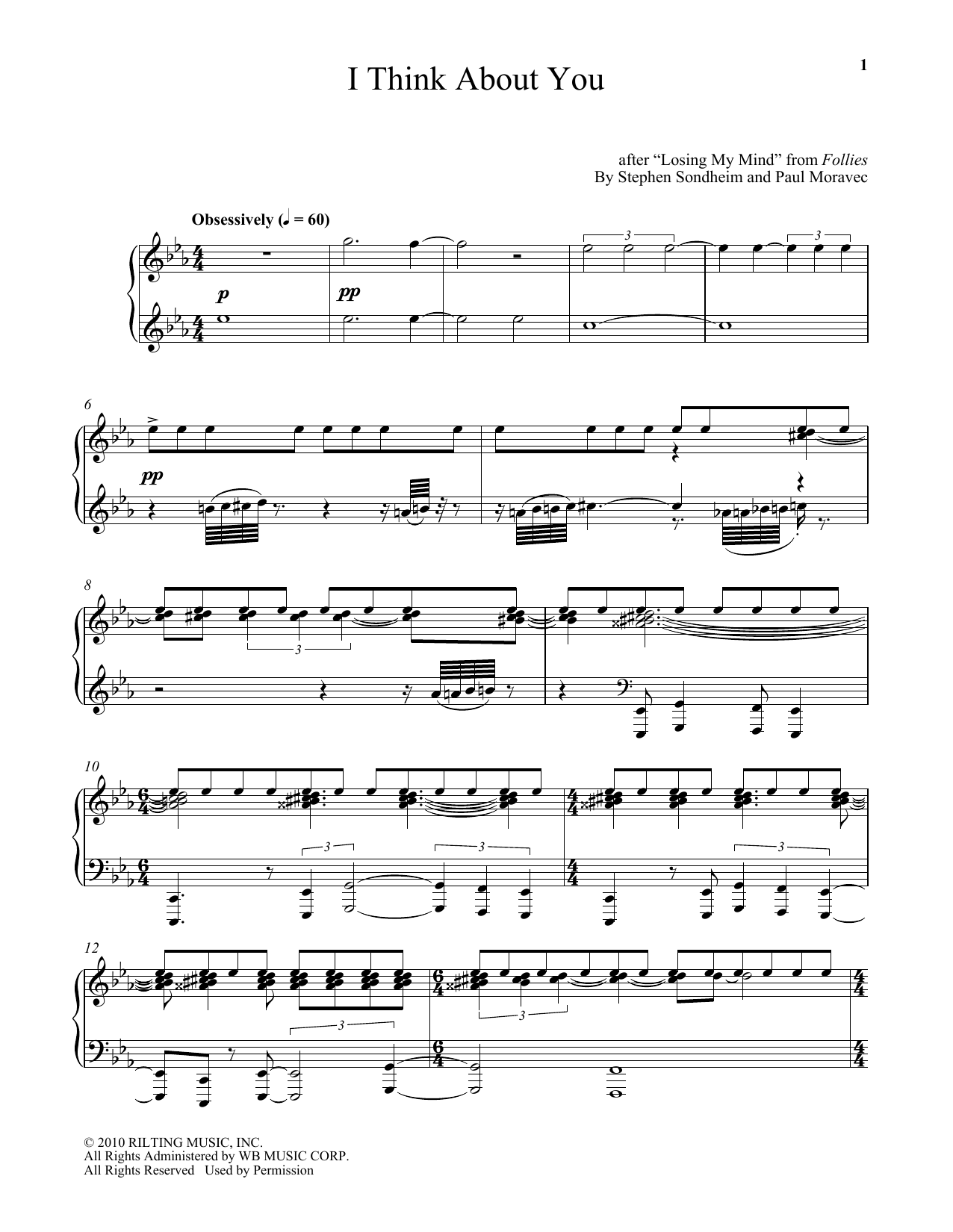 Download Paul Moravec 'I Think About You' Digital Sheet Music Notes & Chords and start playing in minutes