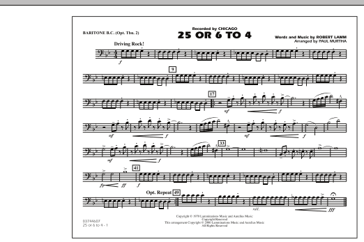 Download Paul Murtha '25 Or 6 To 4 - Baritone B.C. (Opt. Tbn. 2)' Digital Sheet Music Notes & Chords and start playing in minutes