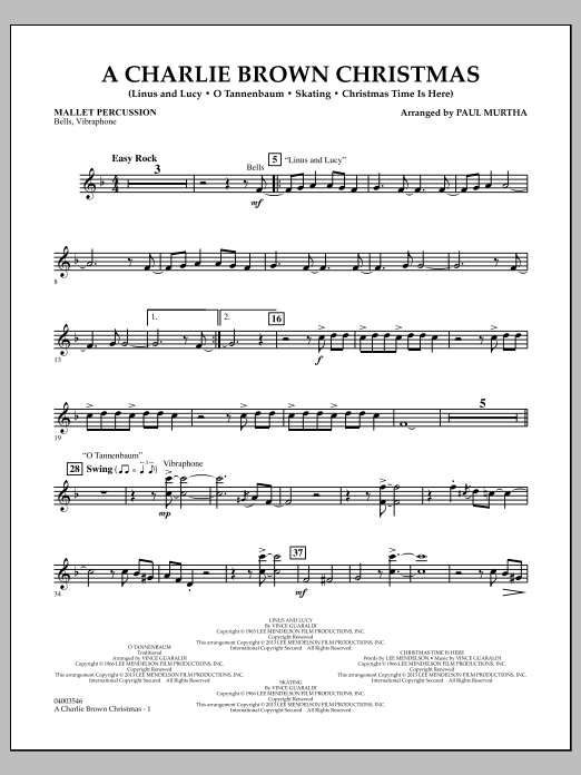 Paul Murtha A Charlie Brown Christmas - Mallet Percussion sheet music notes and chords