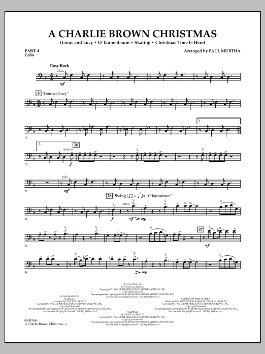 Paul Murtha A Charlie Brown Christmas - Pt.4 - Cello sheet music notes and chords