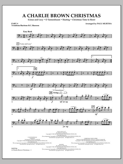 Paul Murtha A Charlie Brown Christmas - Pt.4 - Trombone/Bar. B.C./Bsn. sheet music notes and chords