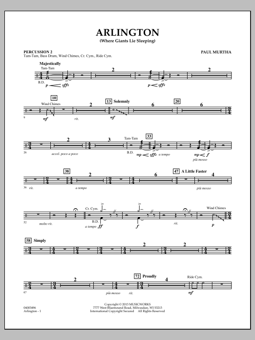 Paul Murtha Arlington (Where Giants Lie Sleeping) - Percussion 2 sheet music notes and chords