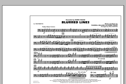 Paul Murtha Blurred Lines - 1st Trombone sheet music notes and chords