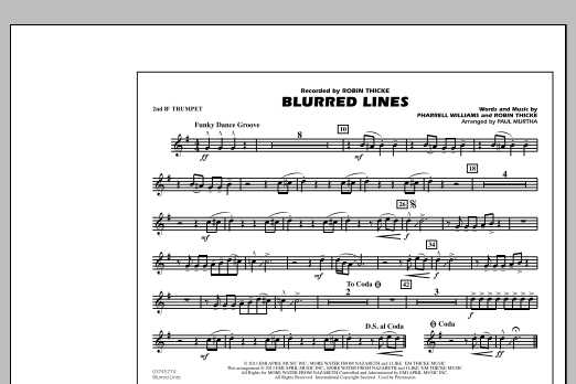Paul Murtha Blurred Lines - 2nd Bb Trumpet sheet music notes and chords