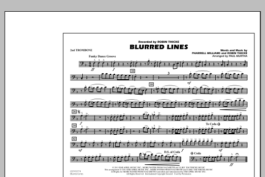 Paul Murtha Blurred Lines - 2nd Trombone sheet music notes and chords