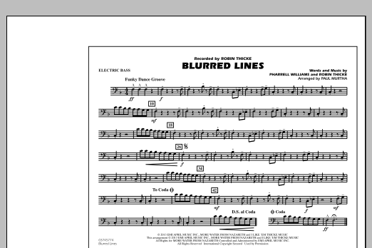 Paul Murtha Blurred Lines - Electric Bass sheet music notes and chords