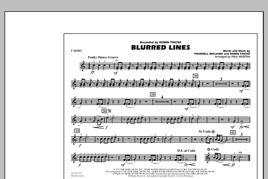 Paul Murtha Blurred Lines - F Horn sheet music notes and chords