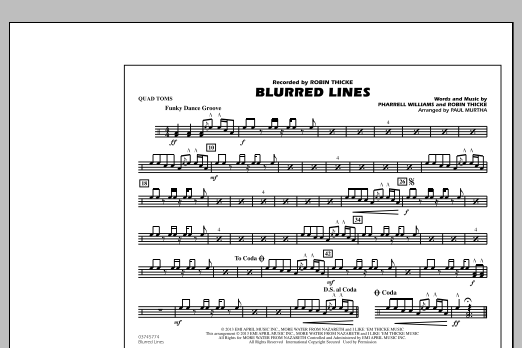 Paul Murtha Blurred Lines - Quad Toms sheet music notes and chords