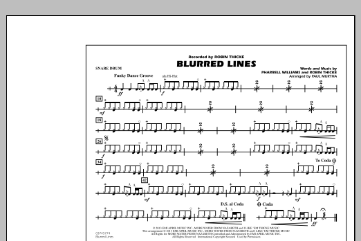 Paul Murtha Blurred Lines - Snare Drum sheet music notes and chords