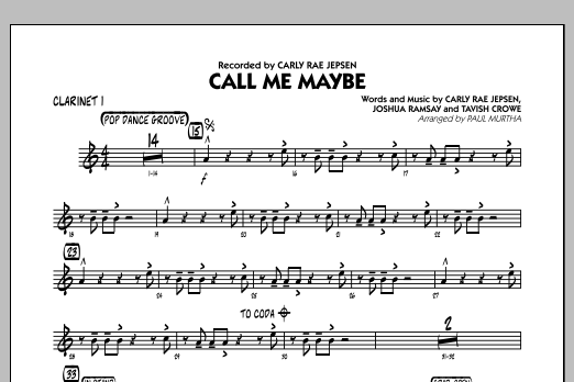 Paul Murtha Call Me Maybe - Bb Clarinet 1 sheet music notes and chords