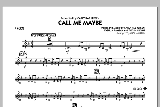 Paul Murtha Call Me Maybe - F Horn sheet music notes and chords
