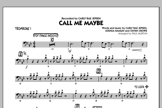 Paul Murtha Call Me Maybe - Trombone 1 sheet music notes and chords